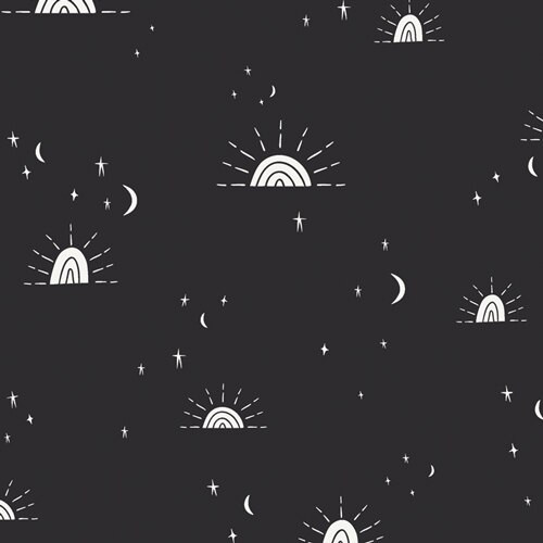 Black Sun Moon Stars fabrics design