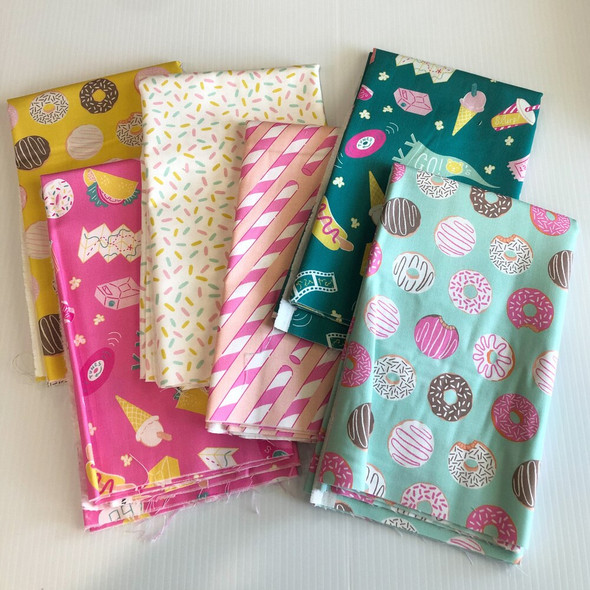 Food Snacks Pink American Road Trip fabrics design