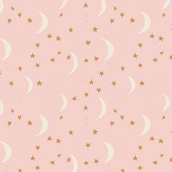 Pink gold moon stars fabrics design