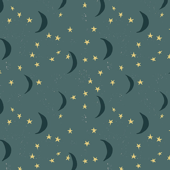 Blue green gold moon stars fabric, Lambkin Keeping Watch Dim cotton, QTR YD