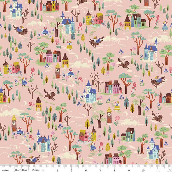 Pink Countryside cotton fabrics design