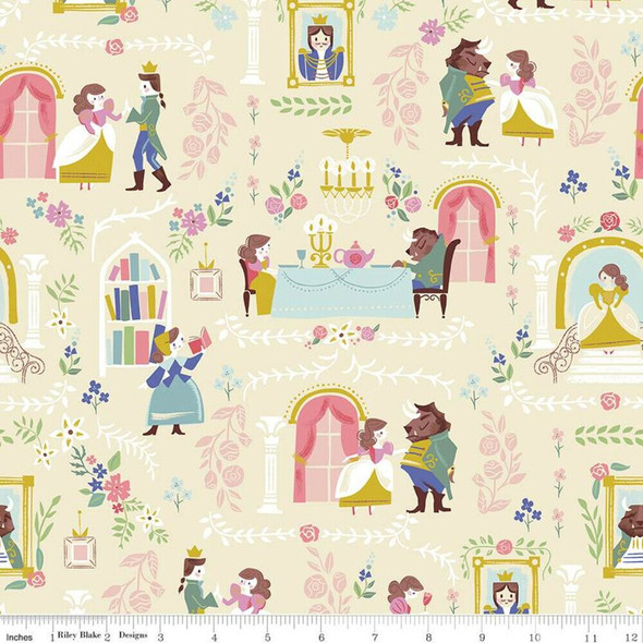 Beauty and the Beast Cream cotton fabrics design