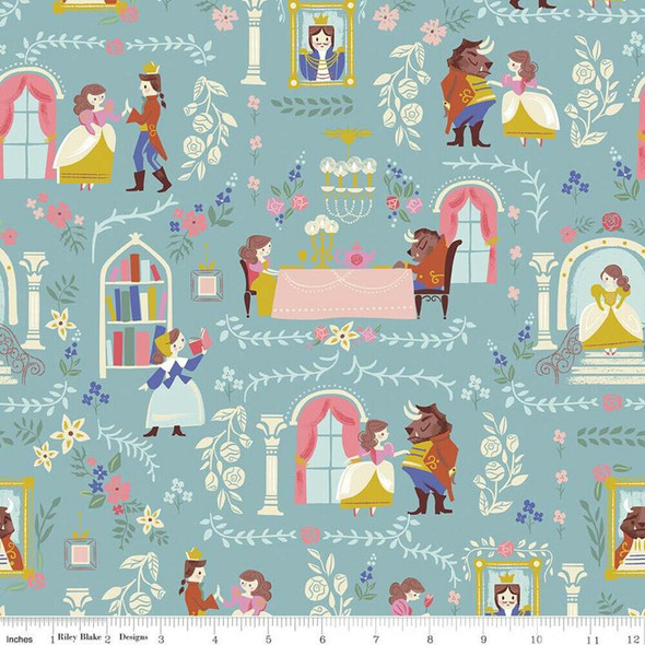 Beauty and the Beast Blue cotton fabrics design