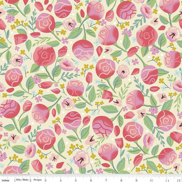 Pink Roses floral fabrics design