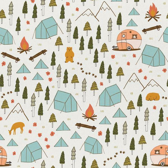 Camping Site vintage camping fabrics design