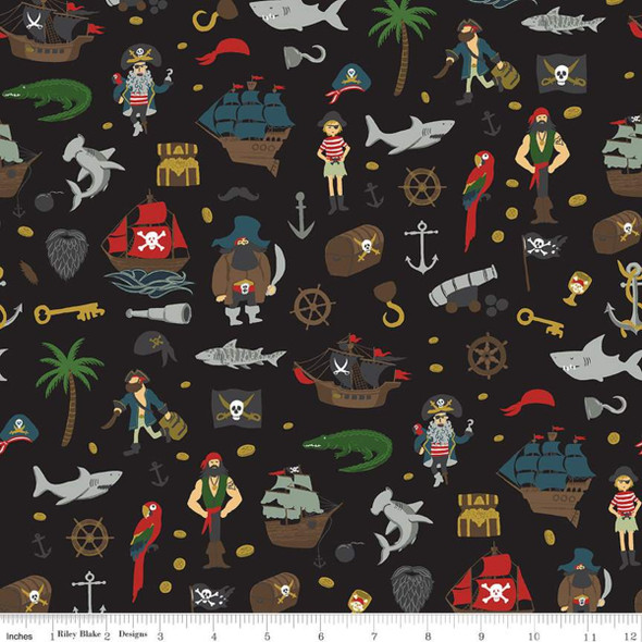 Pirate Tales Black Treasure fabric, Riley Blake Scatter Black cotton, QTR YD