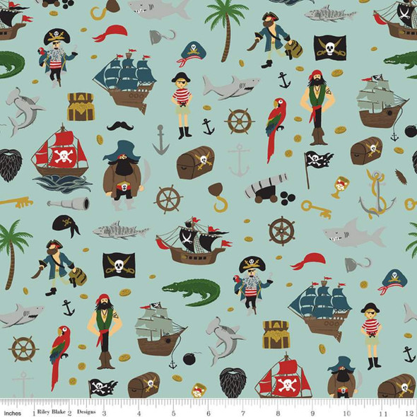 Pirate Tales Blue Treasure fabric, Riley Blake Scatter Blue cotton, QTR YD
