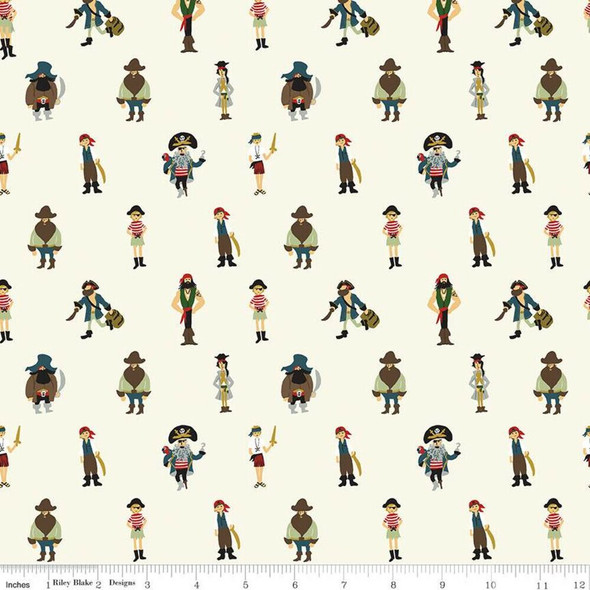 Pirates Cream cotton fabrics design