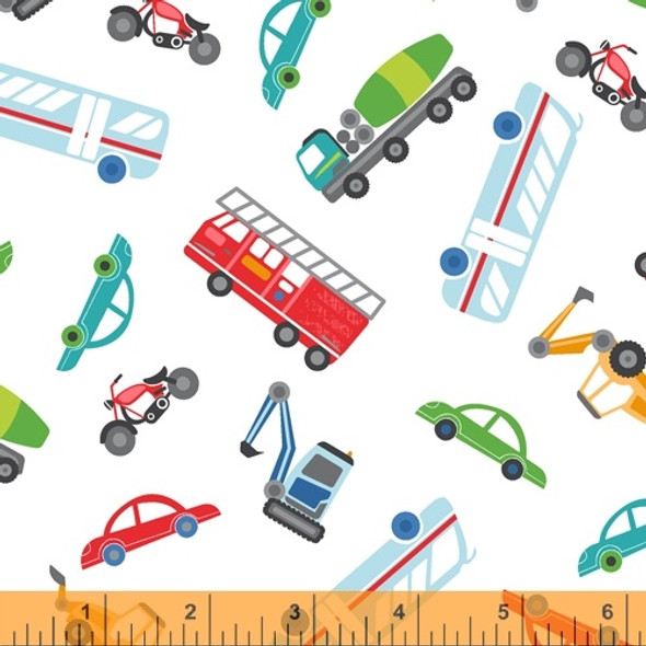 White cars truck firetruck fabric, Windham Fabrics Around Town cotton, QTR YD