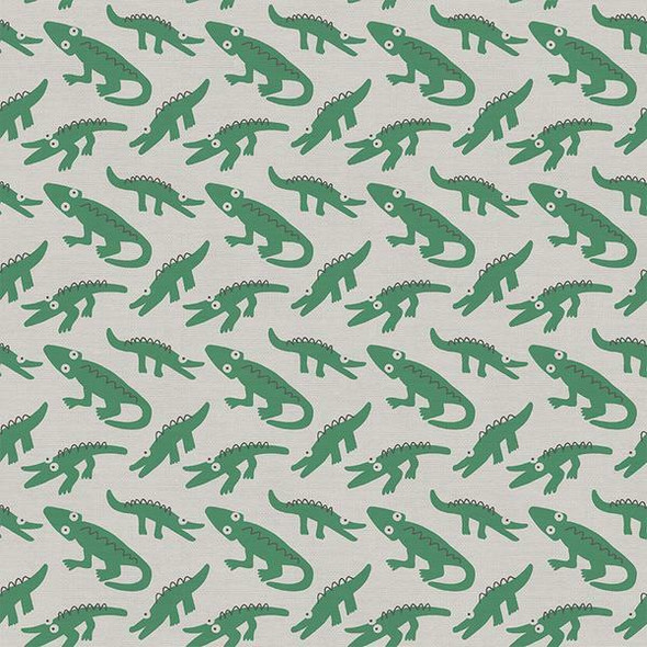 Green alligator kids cotton fabrics design