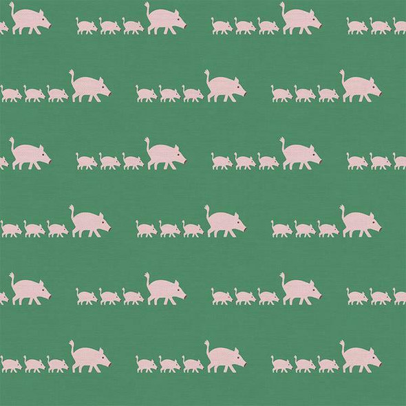 Green pink pig kids cotton Fabrics design