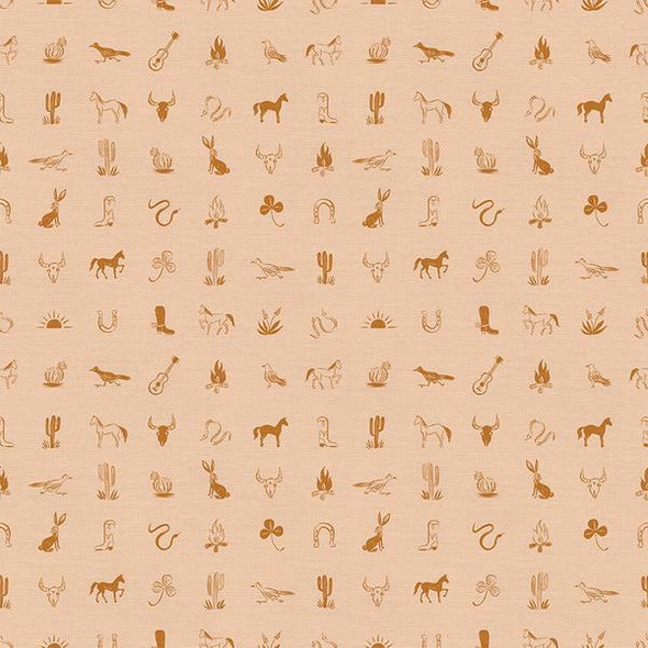 Peach Western Icon fabrics design