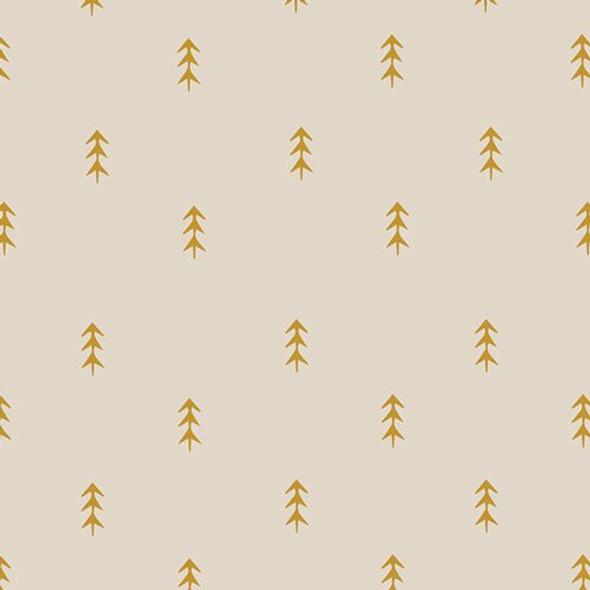 Gold pine tree forest fabrics design
