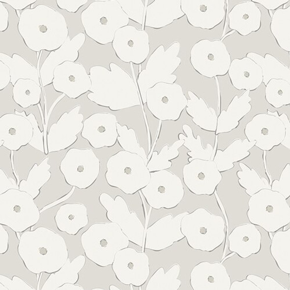 Modern white floral fabrics design