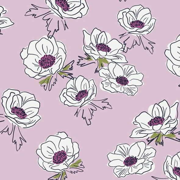 Lavender purple floral cotton fabrics design