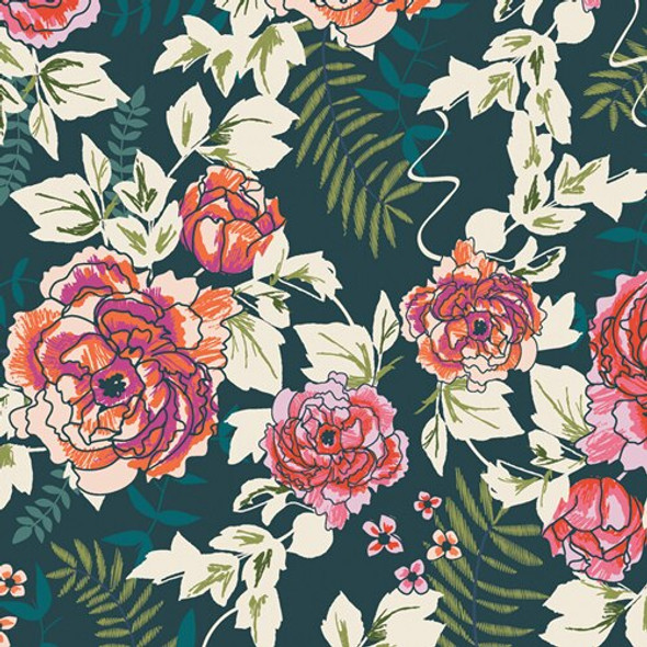 Everblooming Camellias Aglow floral fabrics design