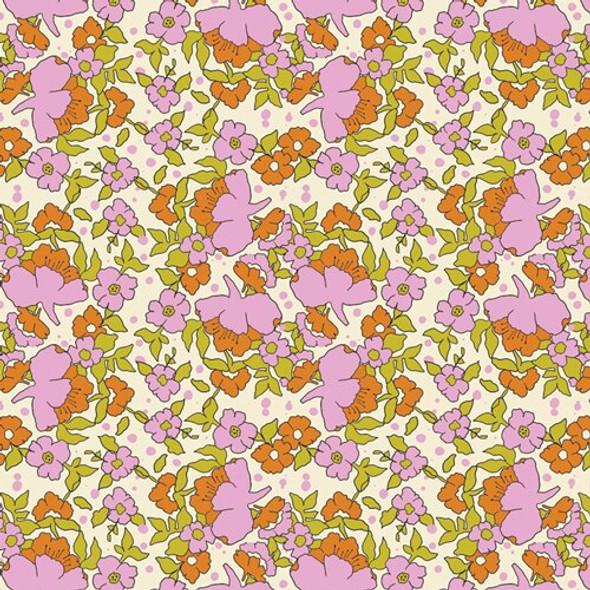 Pink orange green floral fabrics design