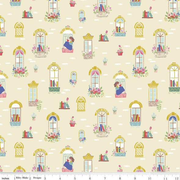 Beauty and the Beast Windows cream cotton fabrics design