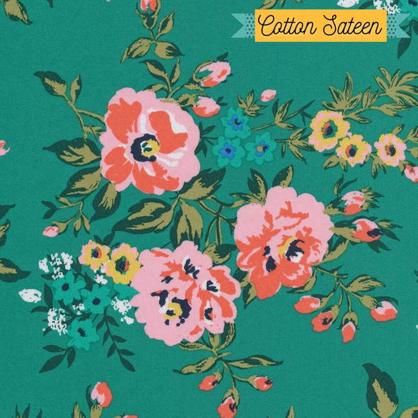 Green floral cotton sateen fabrics design