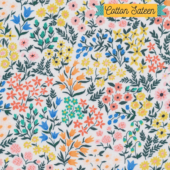 Meadow floral cotton sateen fabrics design