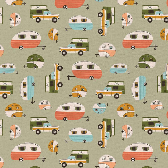Vintage Campers green fabrics design