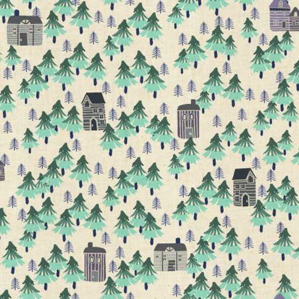 Nature Walk- Aqua Unbleached fabrics design