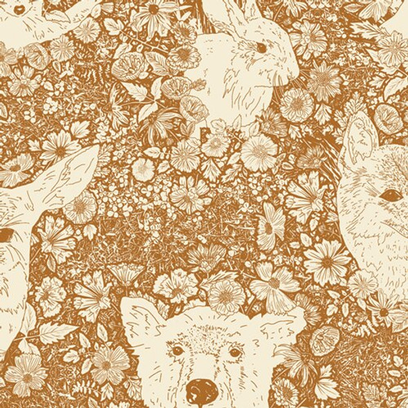 Bear Deer forest animal orange fabrics design
