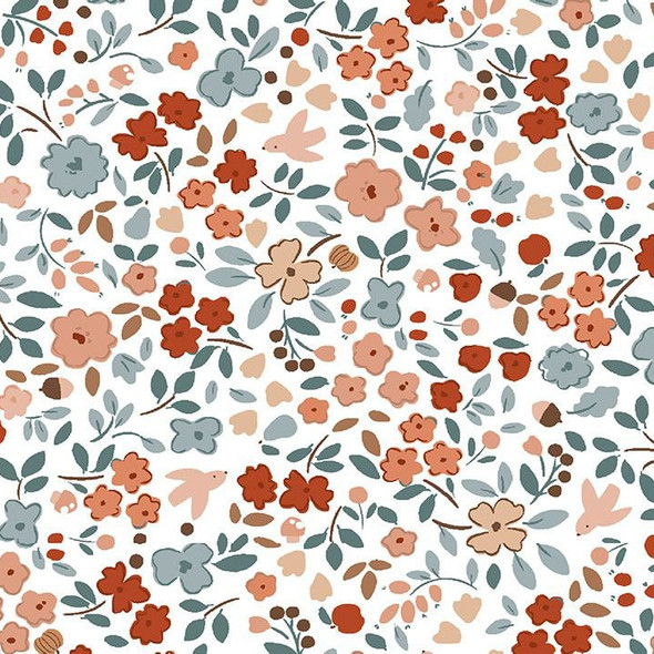 Autumn Floral cotton fabric - Dear Stella Country Mouse cotton fabric - 1/4 Yd