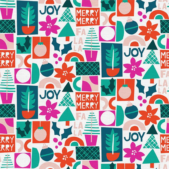 Merry Joy Cherry Christmas - Paintbrush Studio Handmade Holiday cotton - 1/4 Yd