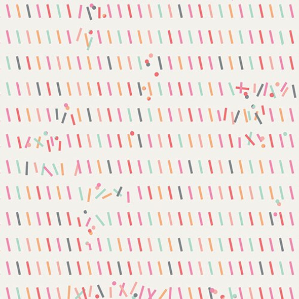 Pastel Sprinkles Glitch Rainbow cotton fabrics design