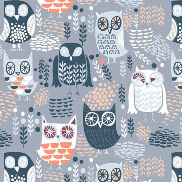 Grey Night Owls cotton fabrics design