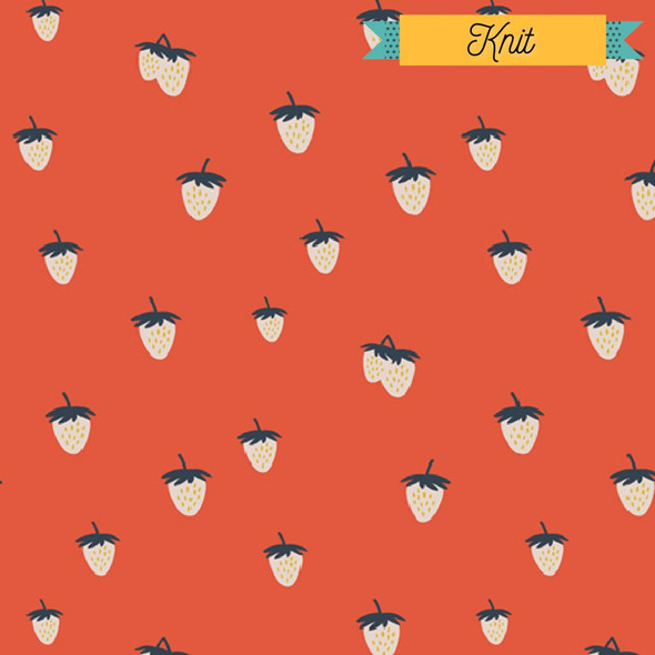 Cherry Red Strawberry KNIT fabrics design