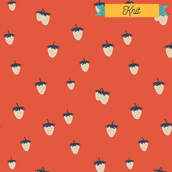 Cherry Red Strawberry KNIT fabrics design
