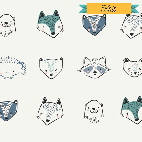 Woodland Animals KNIT fabrics design