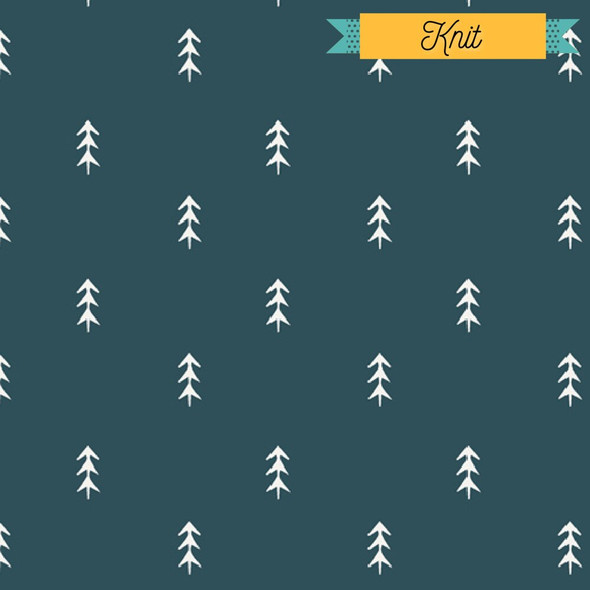Blue Pine Trees KNIT fabrics design