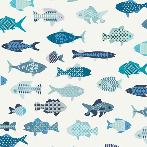 Blue School of Fish cotton fabrics design