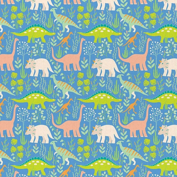 Blue Dinosaur Paintbrush Studio cotton fabrics design