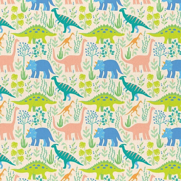 Cream Dinosaur cotton fabrics design