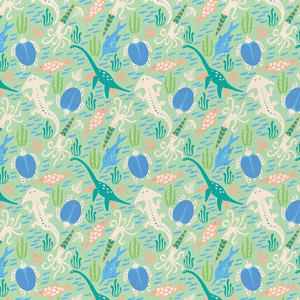 Mint Dinosaur cotton fabrics design