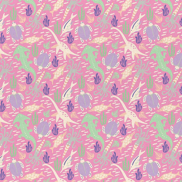 Pink Dinosaur cotton fabrics design