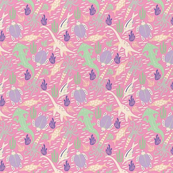 Pink Dinosaur cotton fabrics design