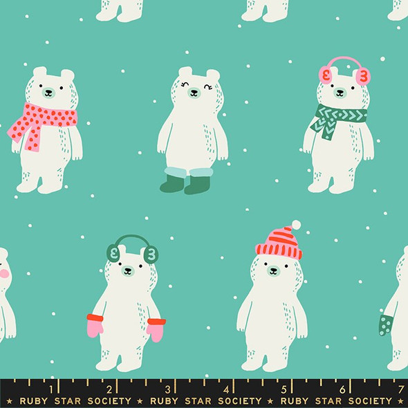 Aqua Snow Bears Fabrics design