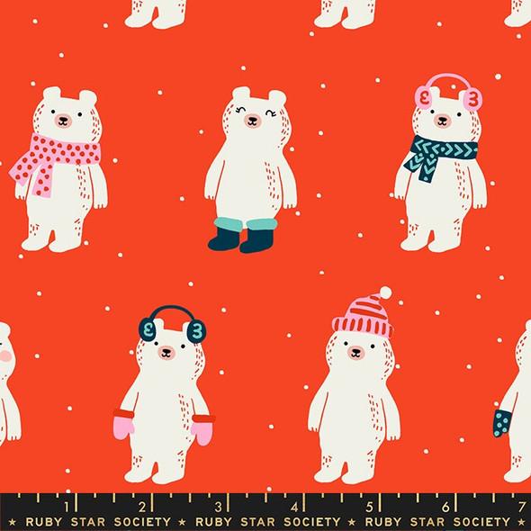 Red Snow Bears Fabrics design