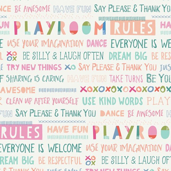 Kids Playroom Rules cotton fabrics design