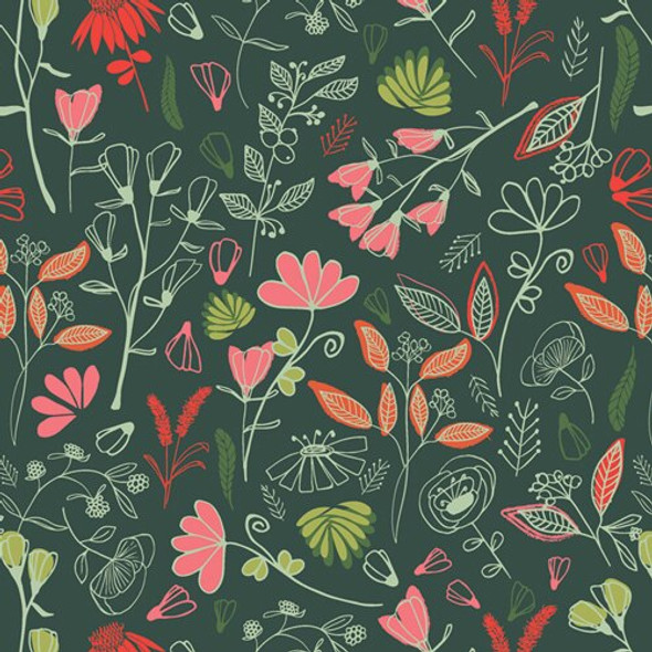 Glowy Bosque Flower Fabrics design