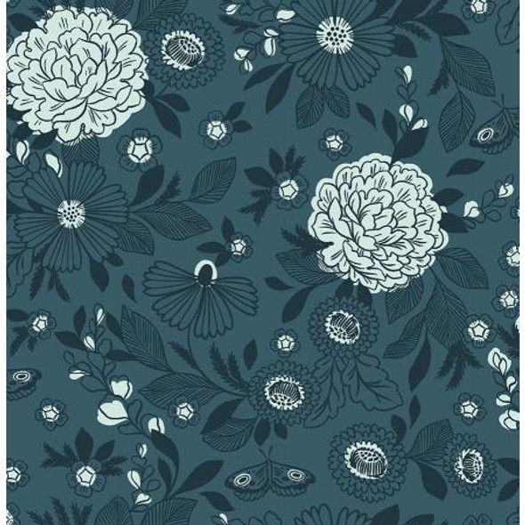 Blue Note Floral Fabric It's Cool to Be Kind Cotton Fabric, QTR YD