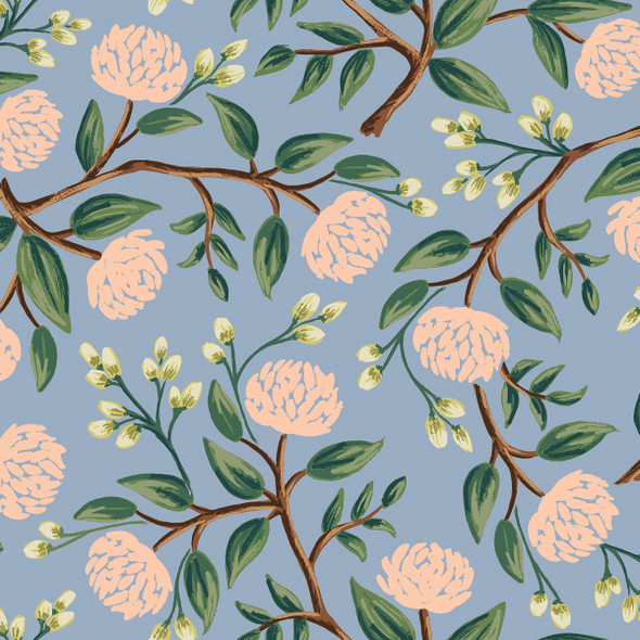 Blue peonies fabric, Rifle Paper Co. Wildwood blue peonies, QTR YD