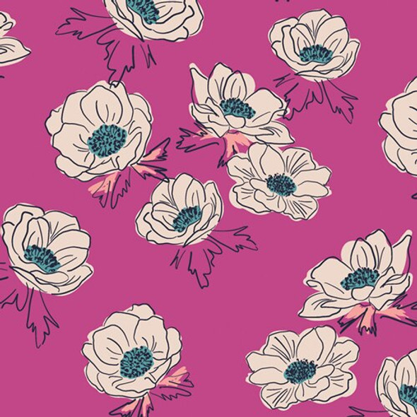 Hot pink turquoise floral cotton fabrics design