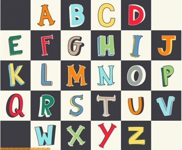 Large alphabet panel fabrics design