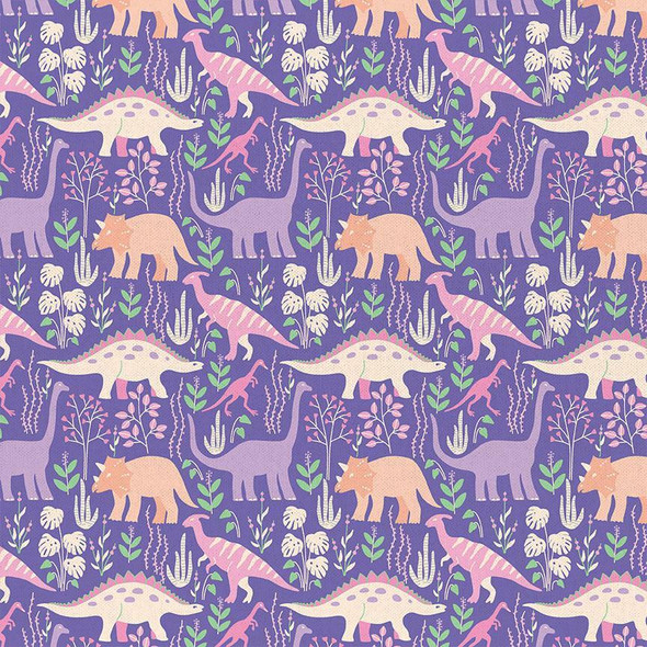 Purple Dinosaur cotton fabrics design